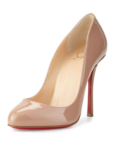 Merci Allen Patent 100mm Red Sole Pump, Nude