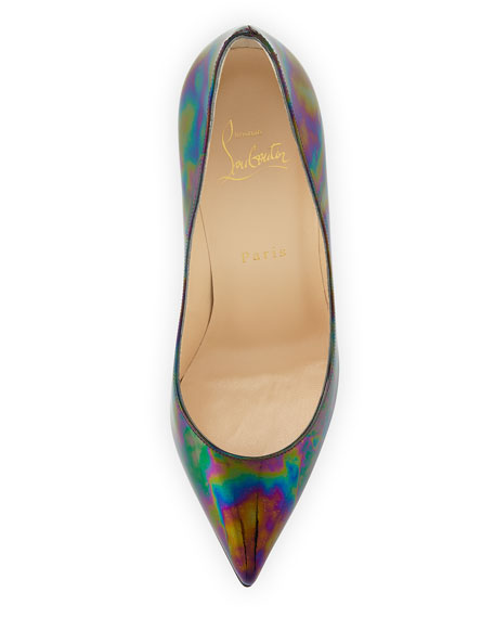 Pigalle Follies Iridescent 100mm Red Sole Pump, Black/Oil