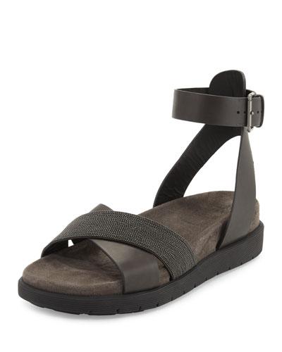 Monili Crisscross Leather Sandal, Espresso