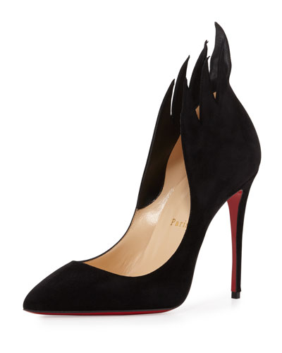 Victorina Flame 100mm Red Sole Pump, Black