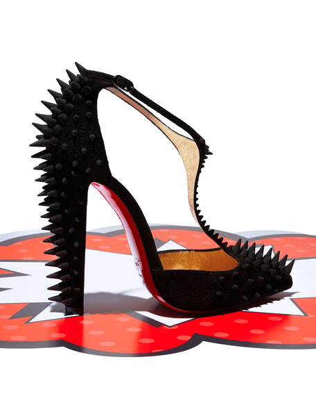 Goldostrap Spike T-Strap Red Sole Pump, Black