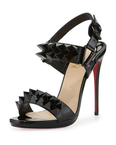 Miziggoo Spiked 120mm Red Sole Sandal, Black