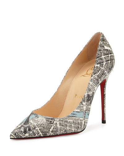 Decollete Paris Map 100mm Red Sole Pump, Multi