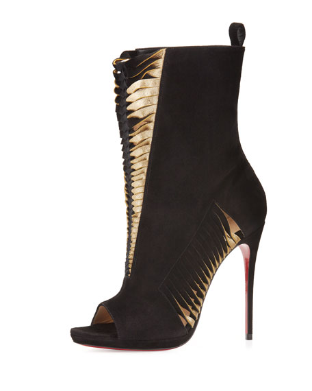 Miss Circus Peep-Toe 120mm Red Sole Bootie, Black/Mekong