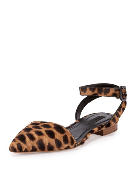 Alexander Wang Lara Calf-Hair Ankle-Wrap d'Orsay Flat,