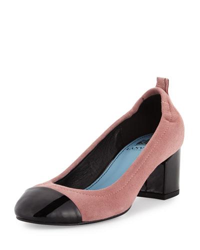 Nubuck Cube-Heel Cap-Toe Pump, Medium Pink/Black