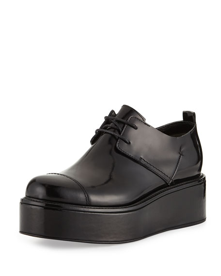 Costume National Patent Leather Platform Oxford, Black