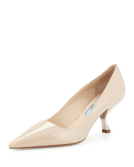 Prada Patent Comma-Heel Pointed-Toe Pump, Travertino