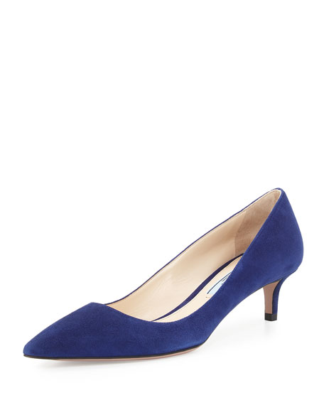 Prada Suede 45mm Pointed-Toe Pump, Navy