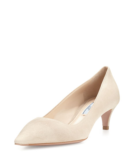 Prada Suede Pointed-Toe 45mm Pump, Quarzo