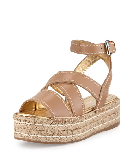 Prada Crisscross Leather Espadrille Sandal, Natural
