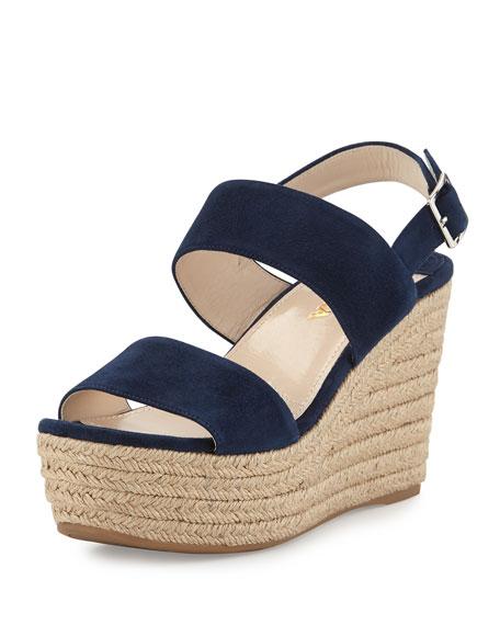 Prada Suede Platform Espadrille Sandal, Oltremare