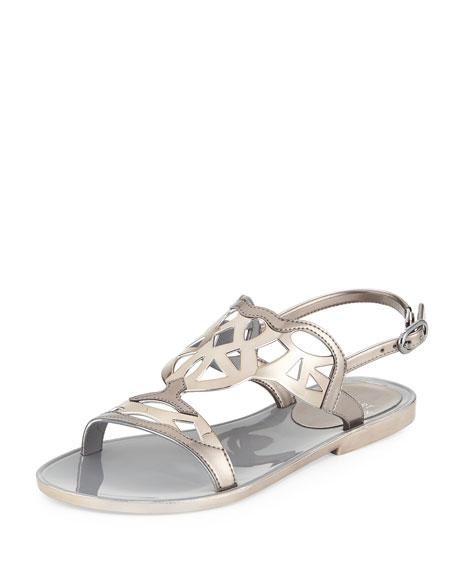 Gelfisher Laser-Cut Jelly Sandal, Graphite
