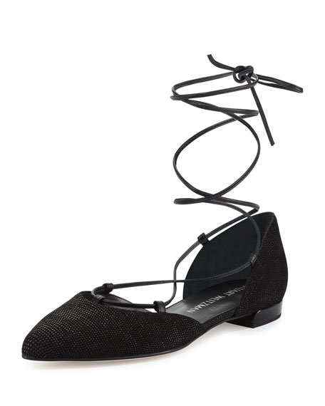 Stuart Weitzman Gilligan Lace-Up d'Orsay Flat, Black
