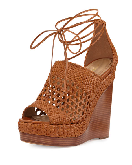 Angela Woven Leather Wedge Sandal, Nutmeg