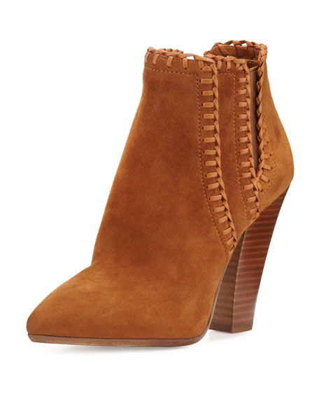 Channing Whipstitch Suede Bootie, Dark Luggage