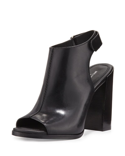 Maeve Leather Open-Toe Bootie, Black