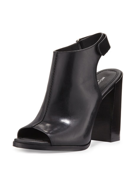 Michael Kors Collection Maeve Leather Open-Toe Bootie, Black