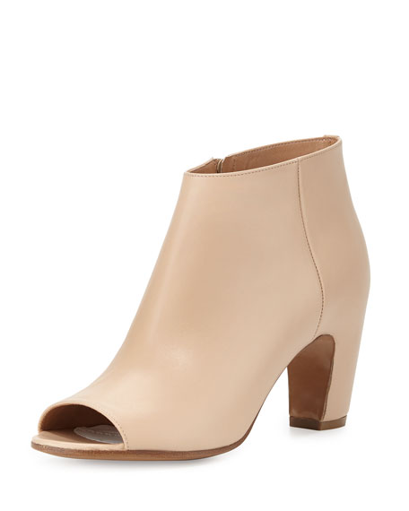 Maison Margiela Leather Open-Toe Curved-Heel Bootie, Beige