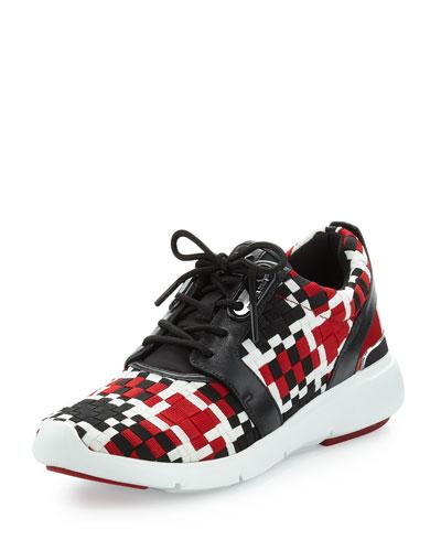 Amanda Woven Trainer Sneaker, Crimson/Black