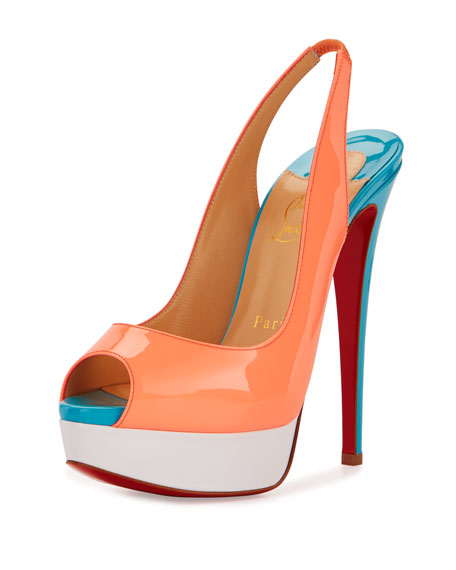Christian Louboutin Lady Peep-Toe Slingback Red Sole Pump,