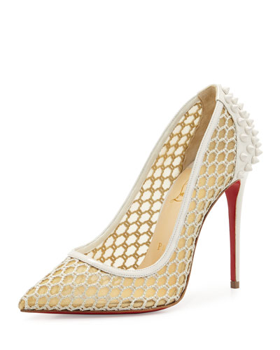 Guni Mesh Spike 100mm Red Sole Pump, Beige/White Ivory