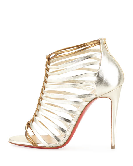 Christian Louboutin Milla Metallic Strappy Red Sole Bootie, Light Gold