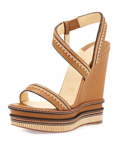 Trepi Platform Wedge Red Sole Sandal, Hazelnut (Noisette)