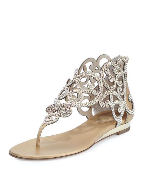 Crystal Laser-Cut Flat Thong Sandal, Gold