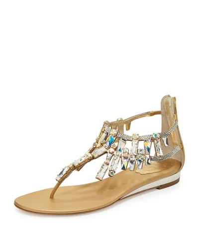 Large-Crystal Flat T-Strap Sandal, Gold