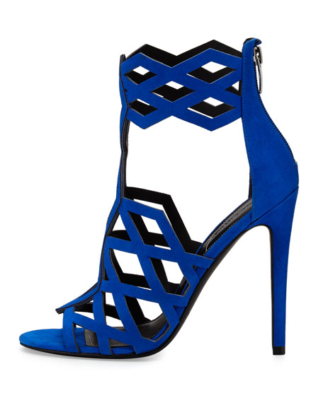 Elena Strappy Cutout Sandal, Medium Blue