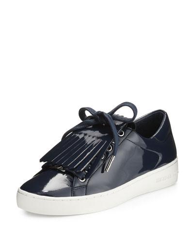 Keaton Kiltie Faux-Patent Sneaker, Navy