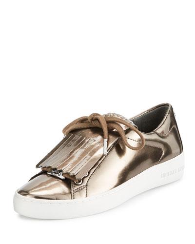 Keaton Kiltie Metallic Sneaker, Nickel