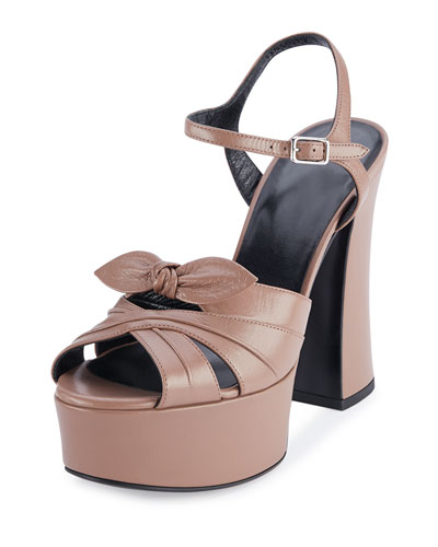 Candy Leather Platform Sandal, Fard