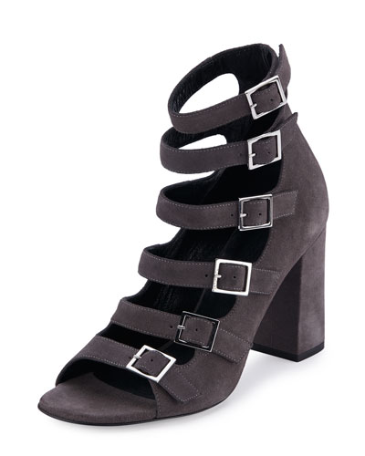 Suede Babies Multi-Strap 90mm Sandal, Dark Anthracite