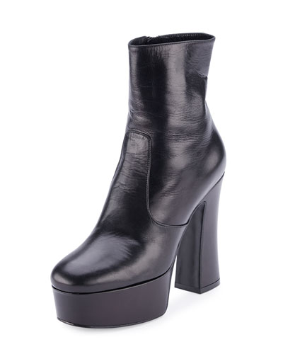 Candy Leather Platform 125mm Ankle Boot, Black (Nero)