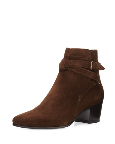 Blake Suede Ankle-Wrap Bootie, Coffee