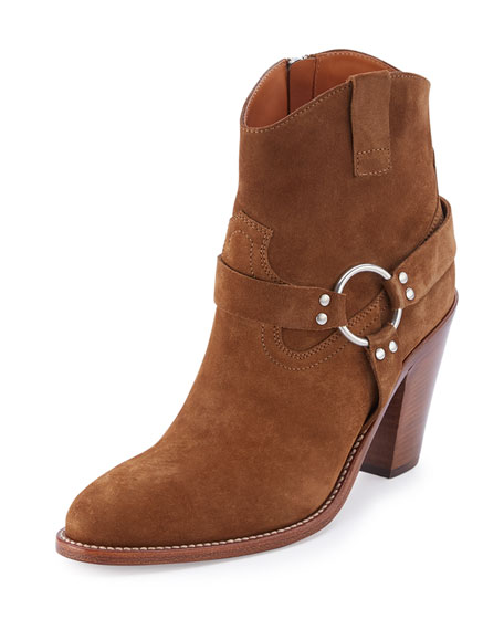Curtis Suede Harness 80mm Bootie, Tan