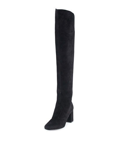 Babies Suede Over-The-Knee Boot, Black (Nero)