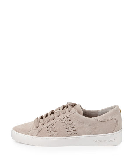 Stevie Woven Suede Low-Top Sneaker, Cement