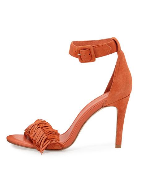 Pippi Suede Fringe Sandal, Tangerine