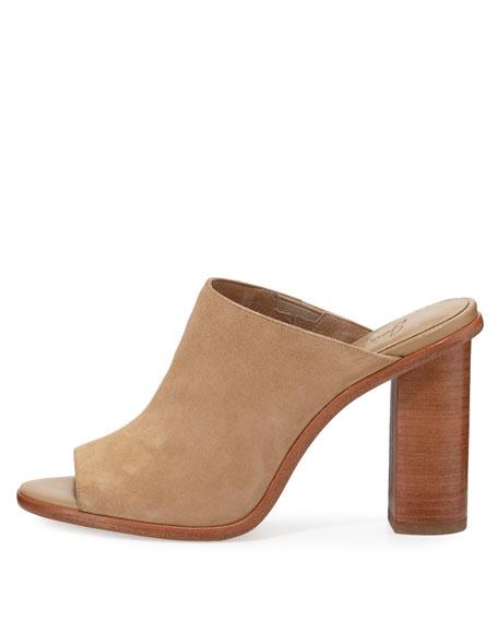 Clementine Suede Chunky-Heel Mule Sandal, Buff