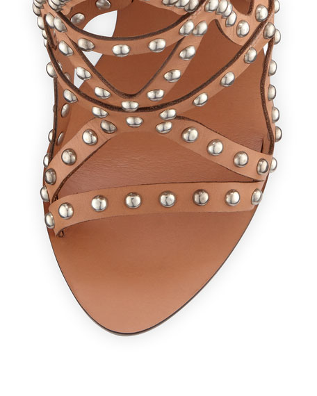 Mila Studded Laser-Cut Sandal, Tan
