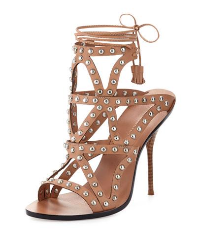 Mila Studded Laser-Cut Sandal, Tan