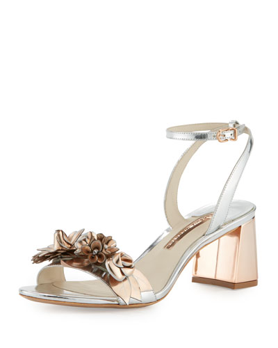Lilico Floral Leather Mid-Heel Sandal, Silver/Rose Gold