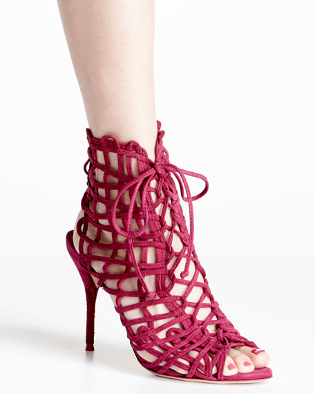 Delphine Suede Lace-Up Bootie, Winter Cherry