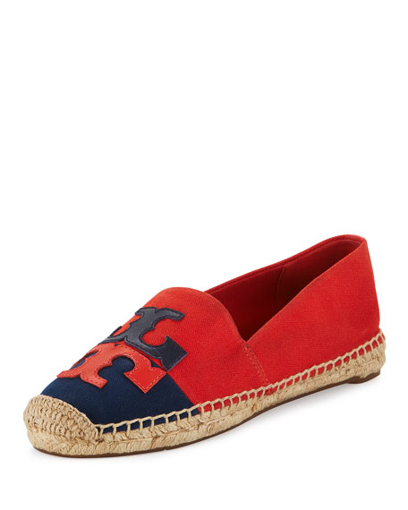 Tory Burch Jamie Two-Tone Logo Espadrille Flat, Red