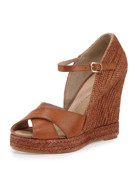 Andr� Assous Giulia Leather Espadrille Wedge Sandal, Cuero