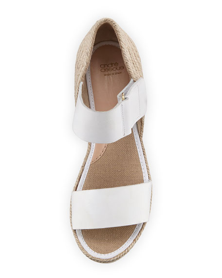 Gretta Leather Espadrille Wedge Sandal, White/Natural