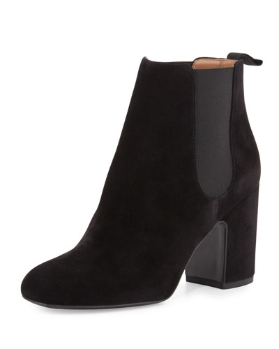 Mia Suede 85mm Chelsea Boot, Black